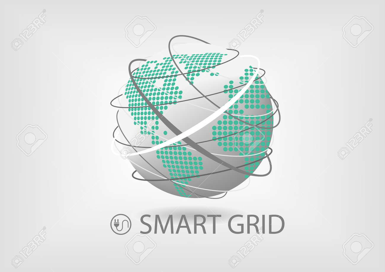 Vector illustration of spinning globe with line connections and vector vector illustration of spinning globe with line connections and dotted world map of america and europe africa smart power grid concept for energy gumiabroncs Gallery