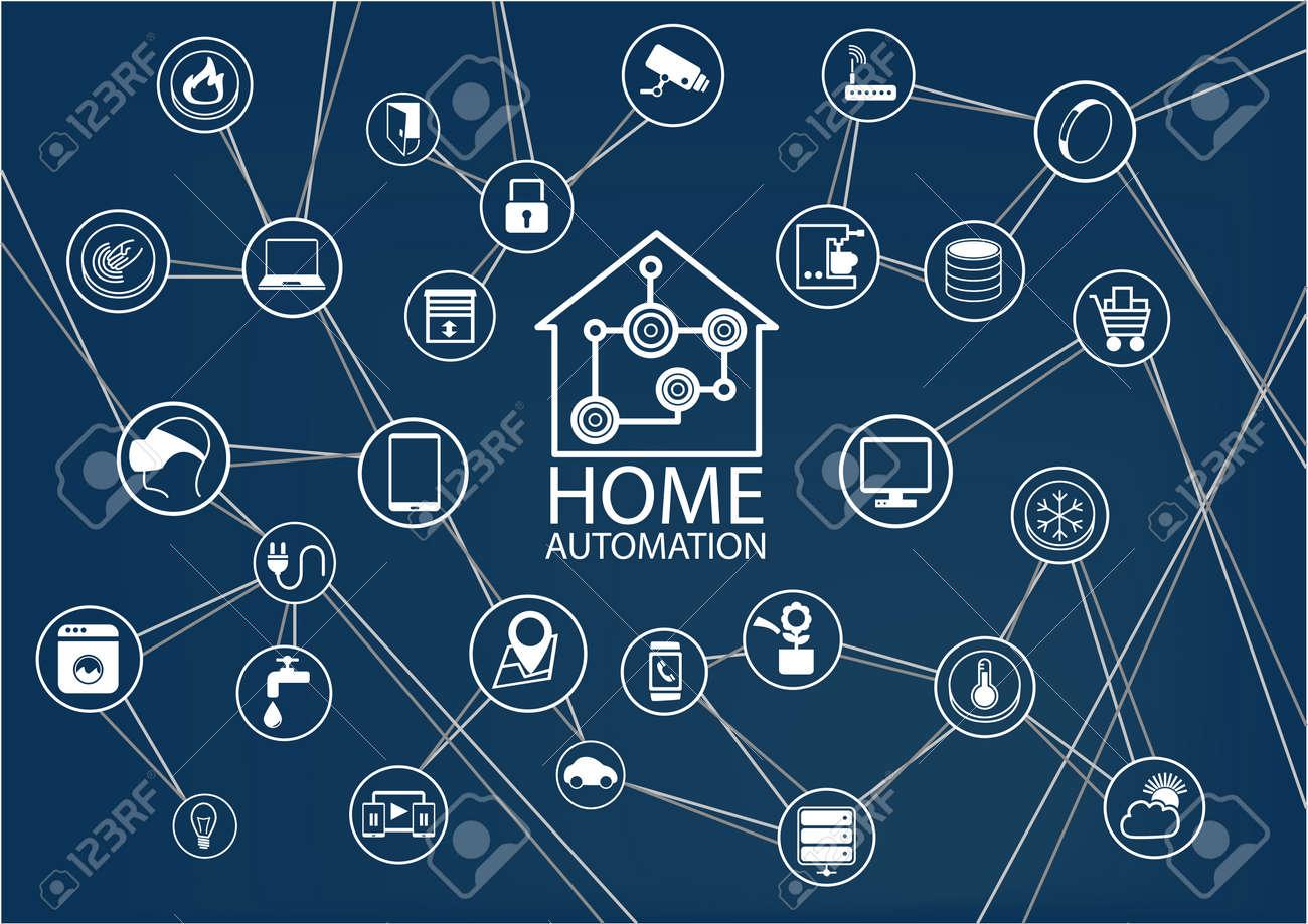 Smart Home Automation Vector Background. Connected Smart Home Devices Like  Phone SmartWatch Tablet Sensor Appliances