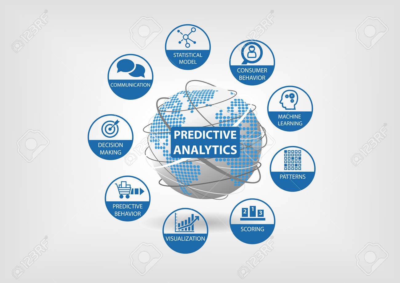 predictive web analytics and data vector icons globe and world map