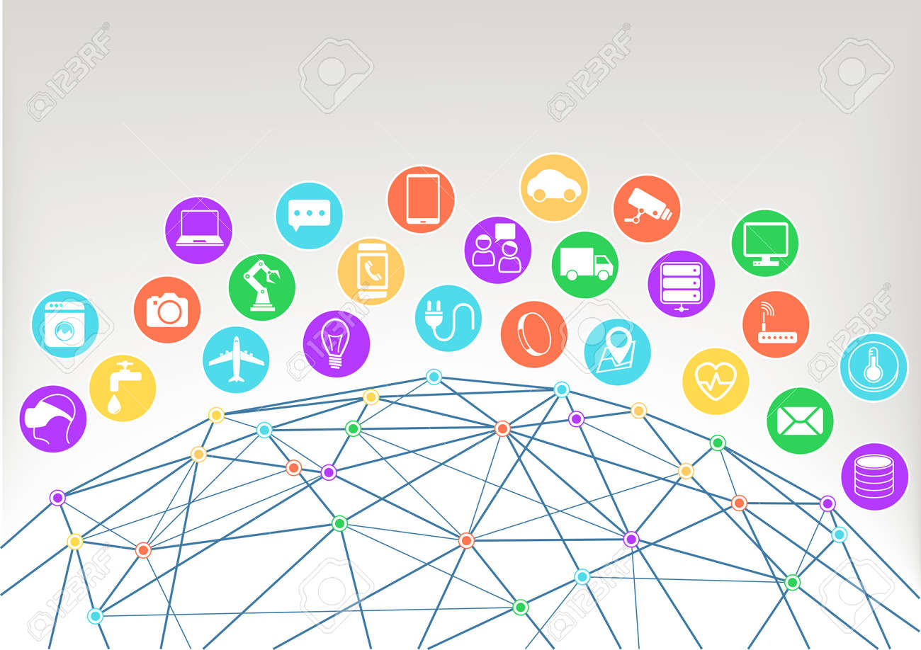 Internet of Things Iot vector illustration background.Icons symbols for various connected devices with wireframe of world and colorful intersections within the network. - 40260111