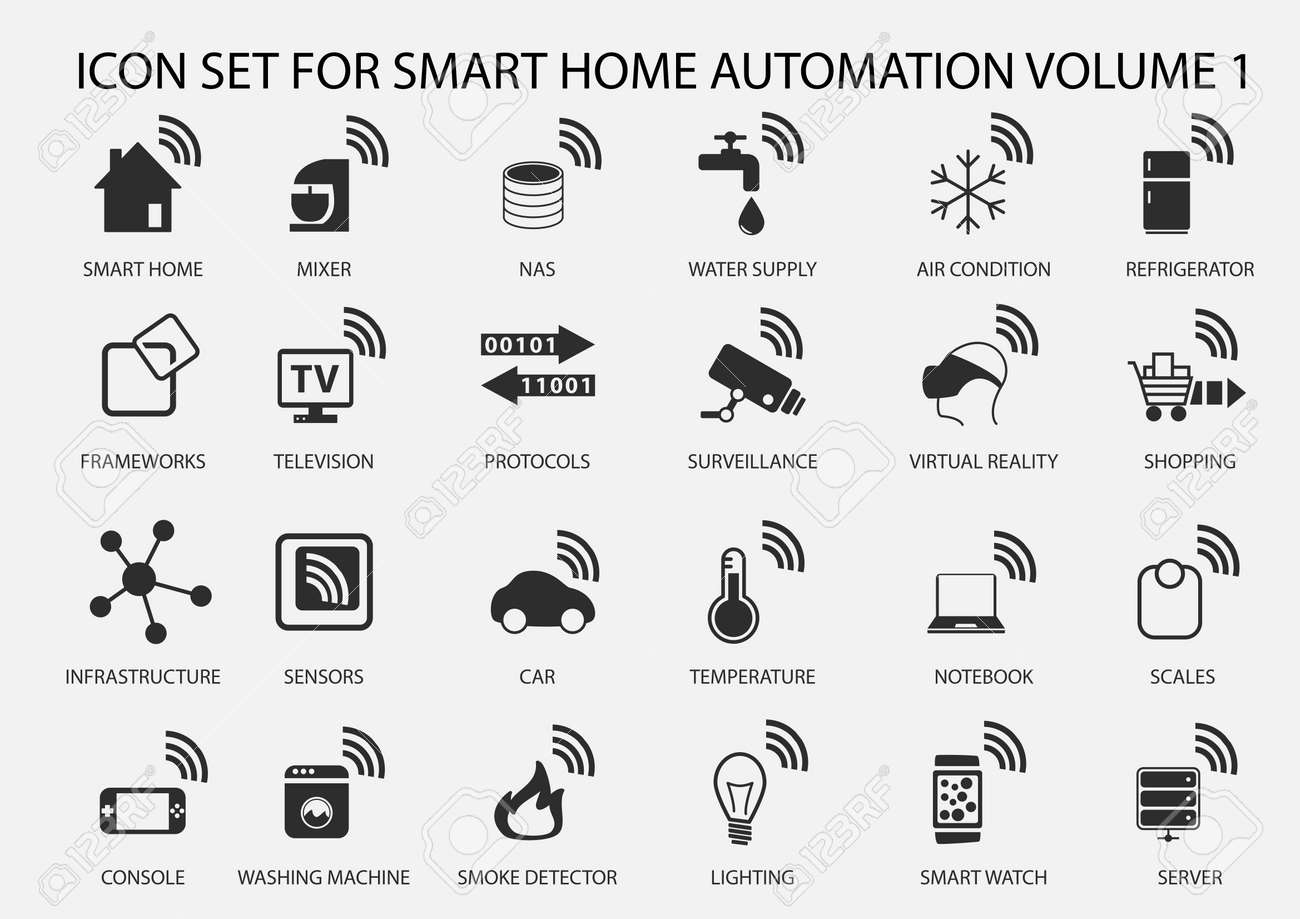 Smart Home Automation Vector Icon Set In Flat Design Stock Vector 44016248