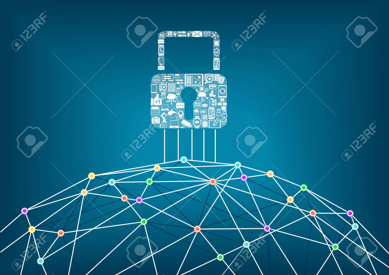 Global IT security protection concept of connected devices. World wide web background with lines connecting dots. - 47677359