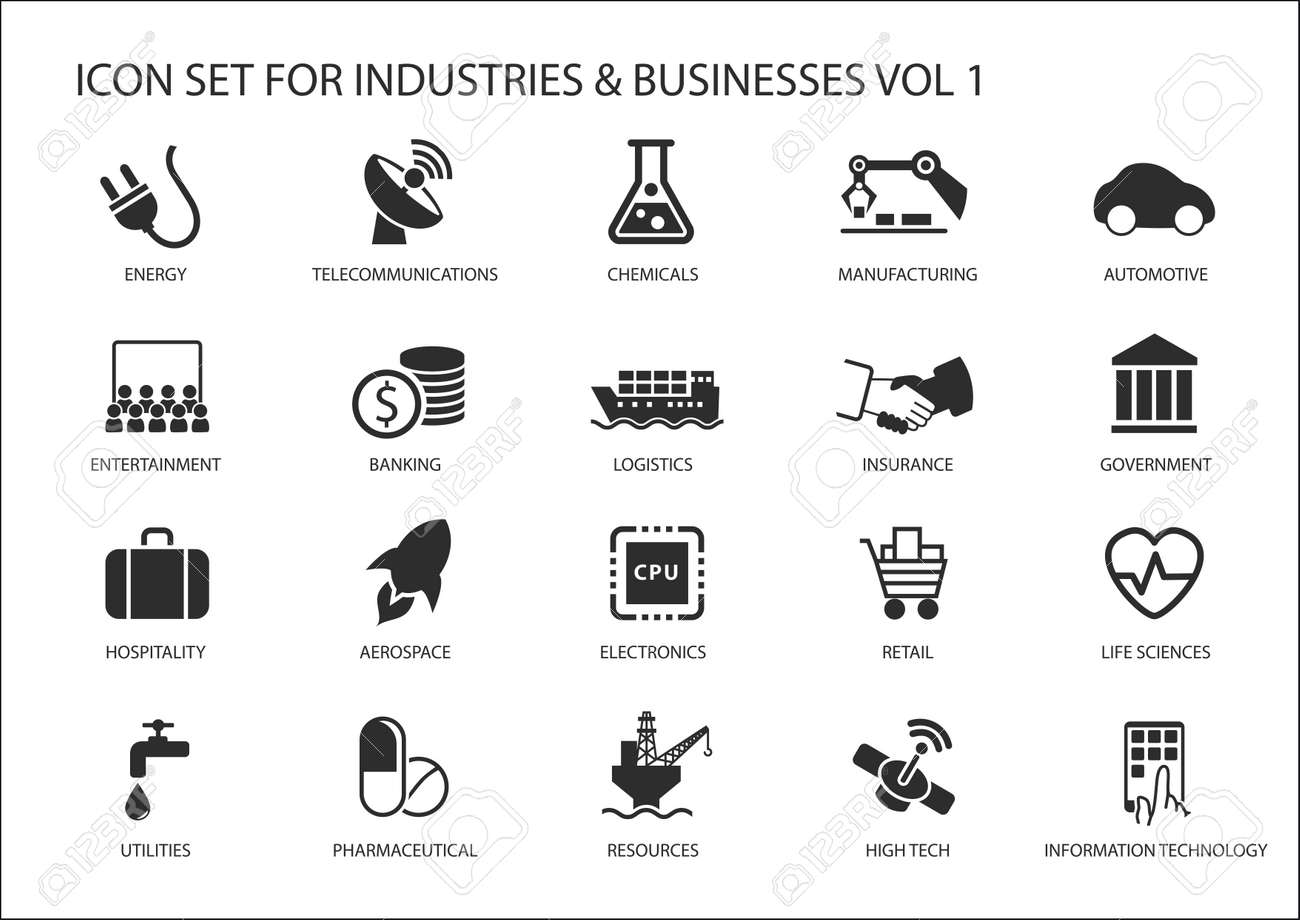 Business icons and symbols of various industries business sectors like financial services industry, automotive, life sciences, Resources Industry, Entertainment Industry and High Tech - 49809089