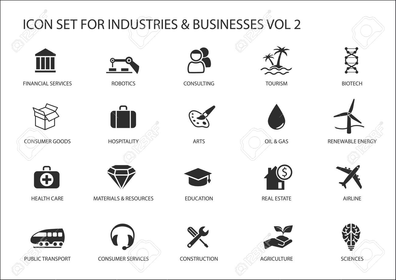 Business icons and symbols of various industries business sectors - 53040015