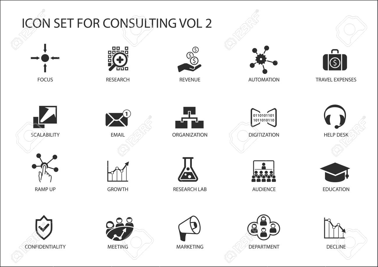 Vector icon set for topic consulting. Various symbols for strategy consulting, IT consulting, business consulting and management consulting - 53525268