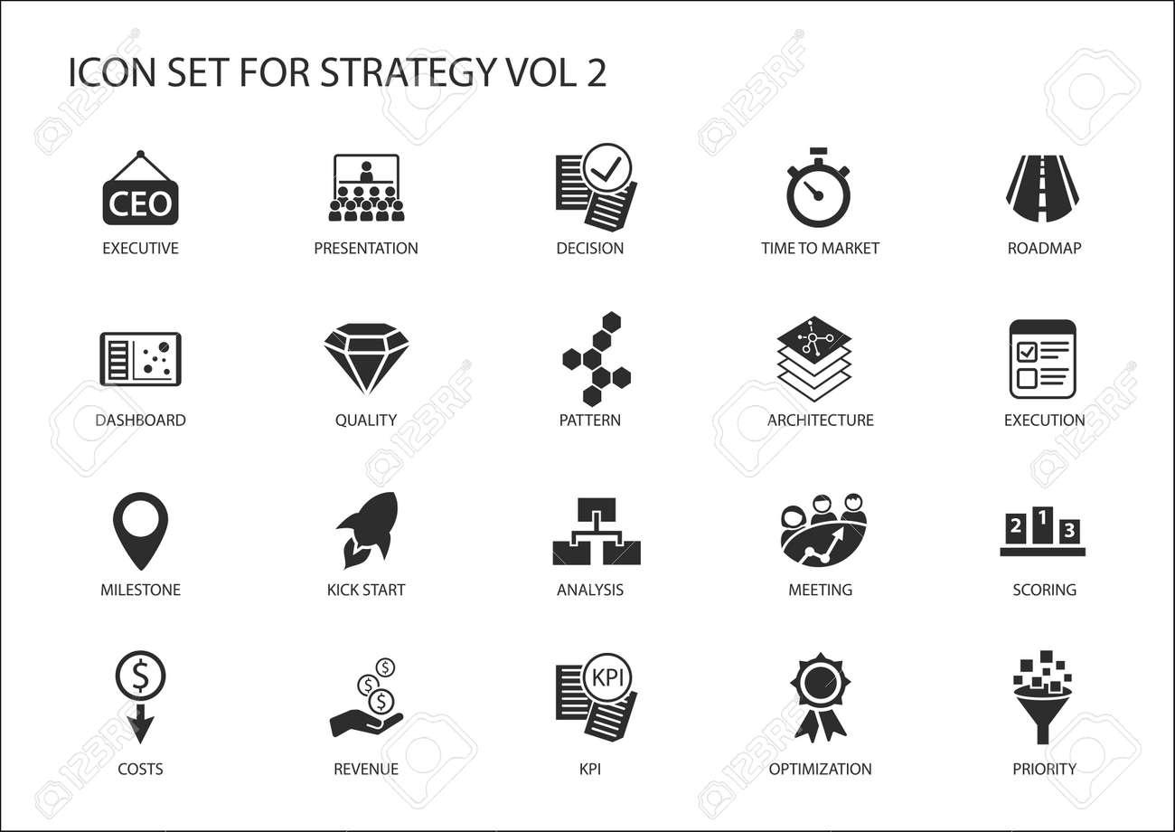 Armaturenbrett symbole  Strategie-Icon-Set. Verschiedene Symbole Für Strategische Themen ...