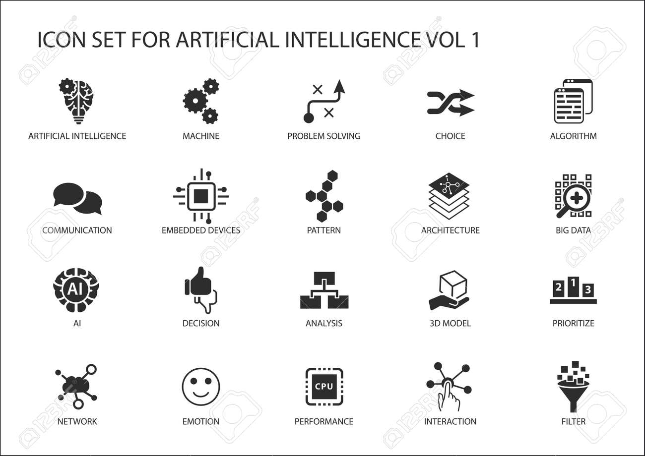Icon Set For Artificial Intelligence Ai Concept Various Symbols Circuit Board Background Vector Free Graphics Download The Topic Using