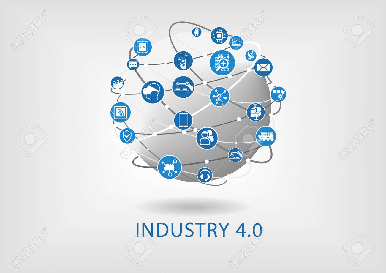 Industry 4.0 infographic. Connected smart devices with globe. - 56637546