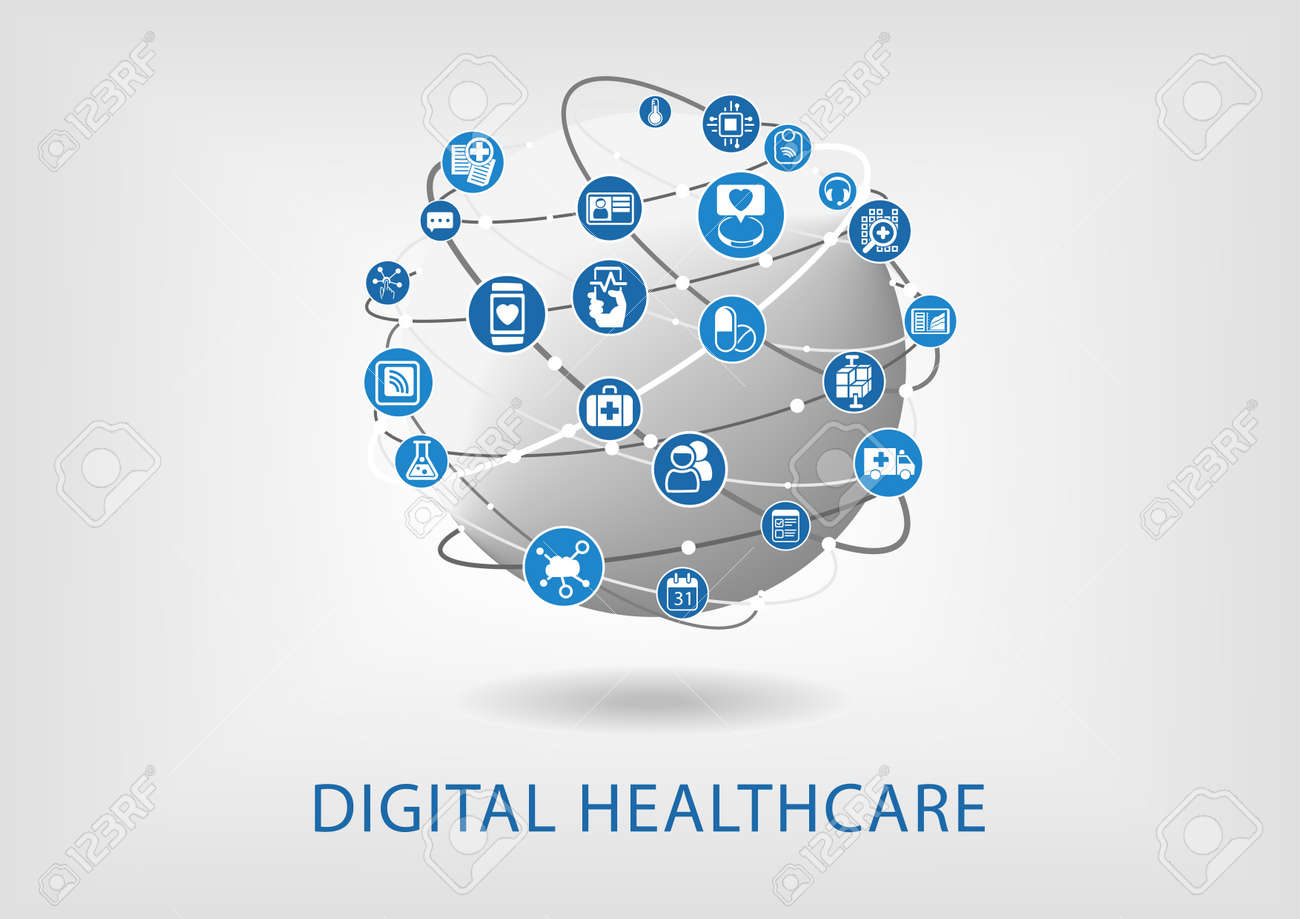 Digital healthcare infographic as vector illustration - 58671504
