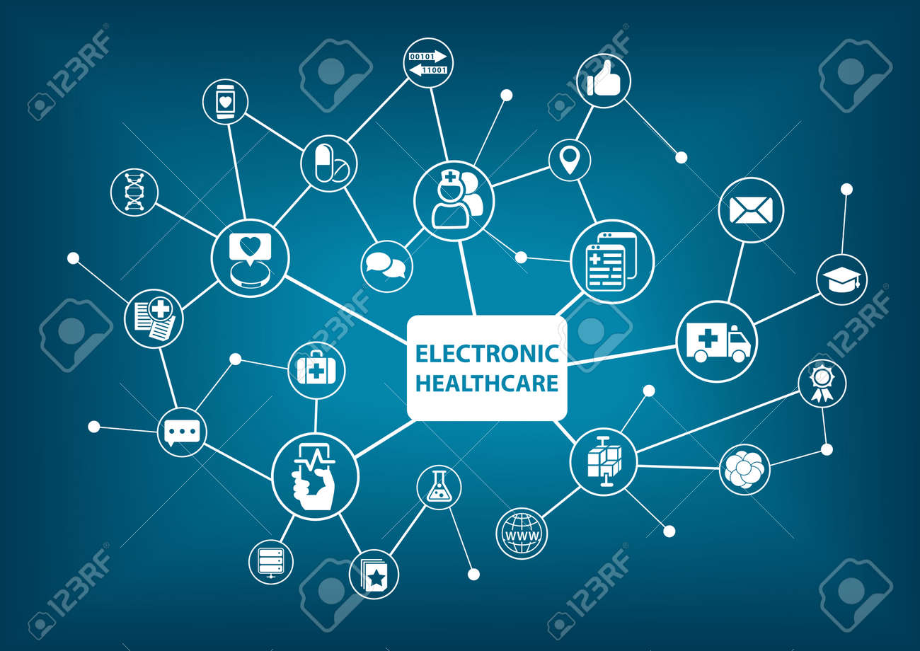 Electronic healthcare background as vector illustration in a digitized hospital - 58671506