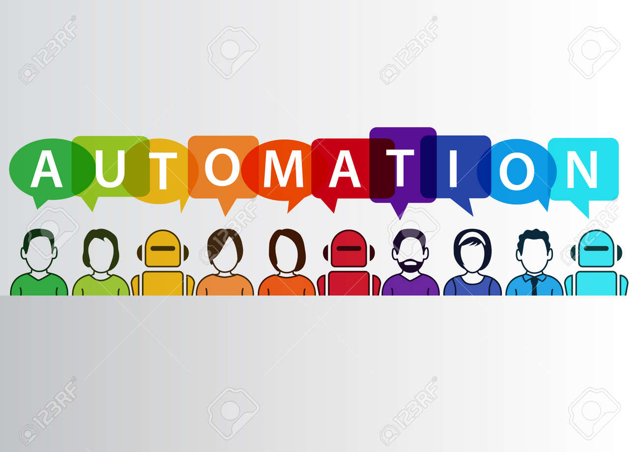 Process automation concept as background. Vector illustration of mixed group of people and machines and robots - 58671511
