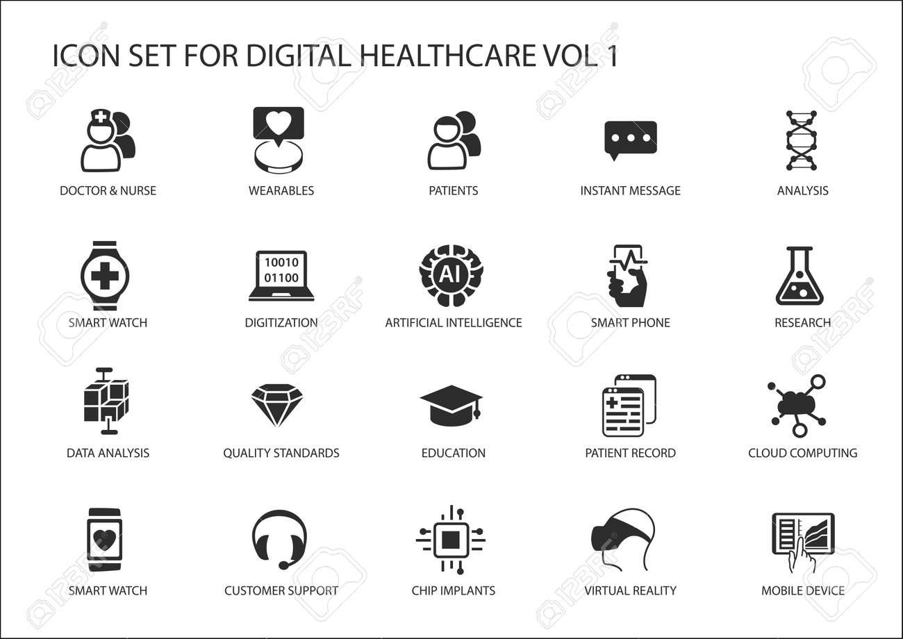 Digital healthcare and medicine icon set - 59162040