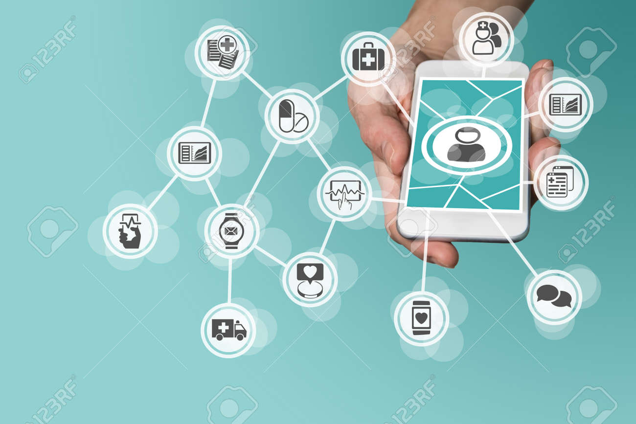 Digital and mobile healthcare concept with hand holding smart phone - 60322790