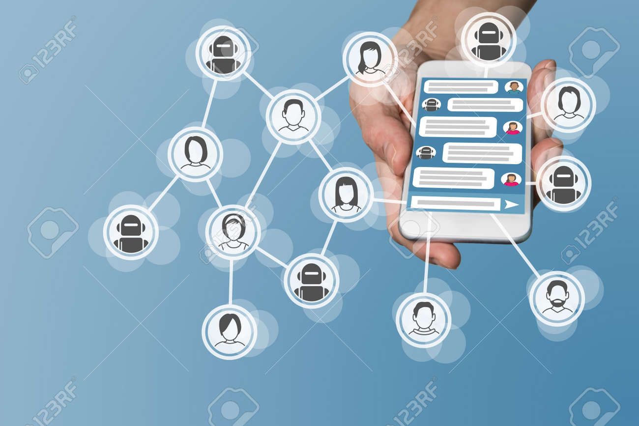 Chatbot concept with instant messenger Displayed on smart phone Stock Photo - 60322789