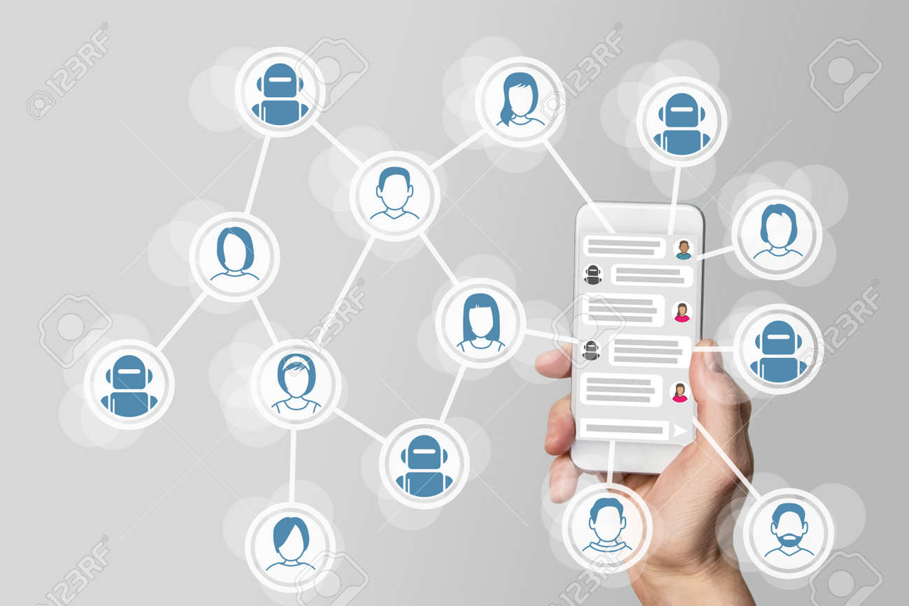 Chatbot concept with instant messenger Displayed on smart phone Stock Photo - 60322792