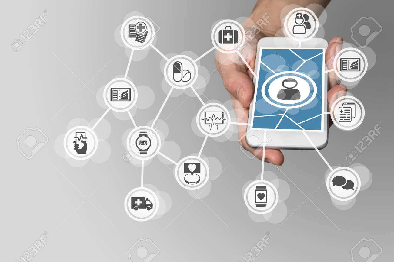 Digital e-healthcare in order to connect patients to medical services via smartphone Stock Photo - 60322794