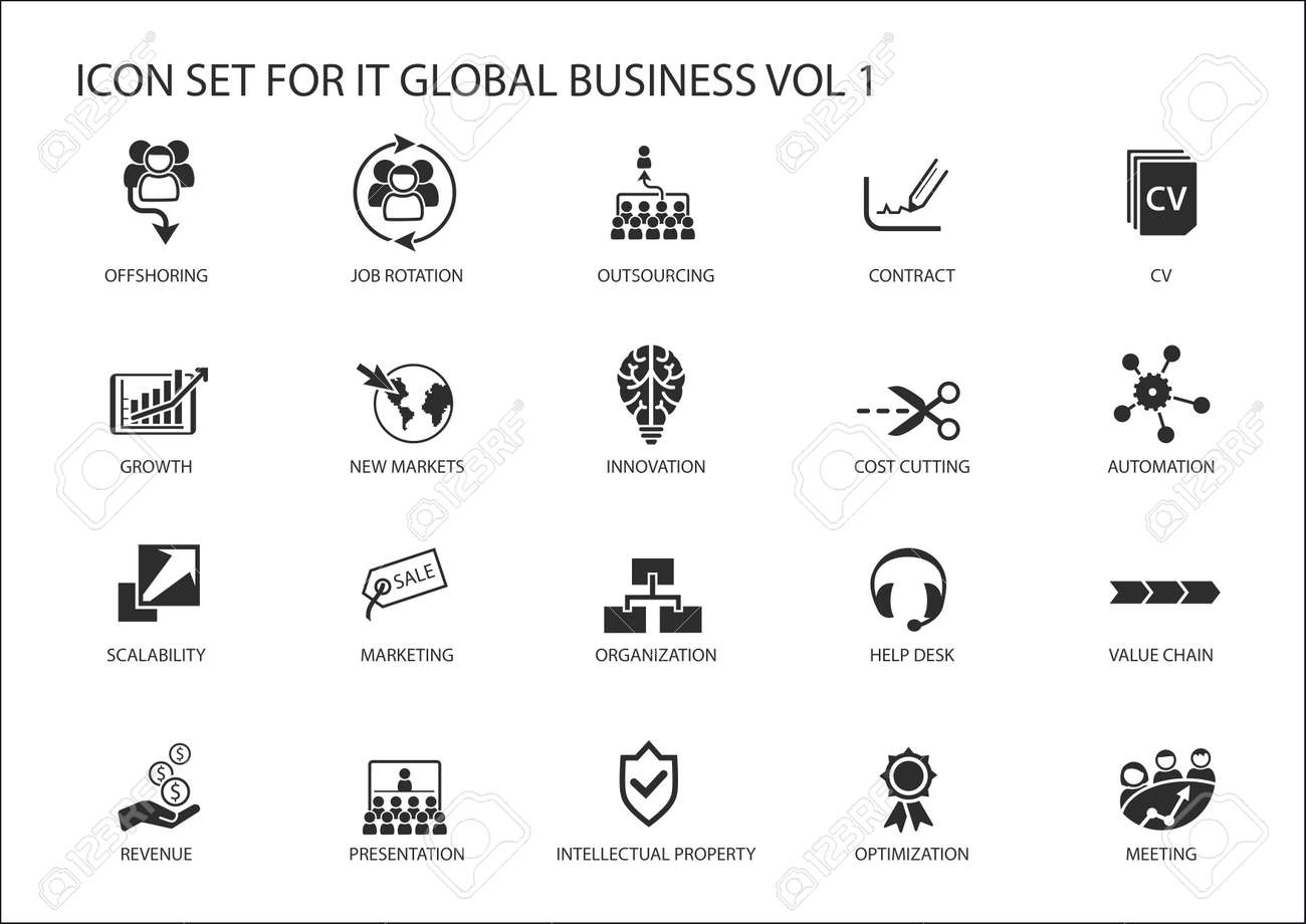 Global business vector icon set - 68633460