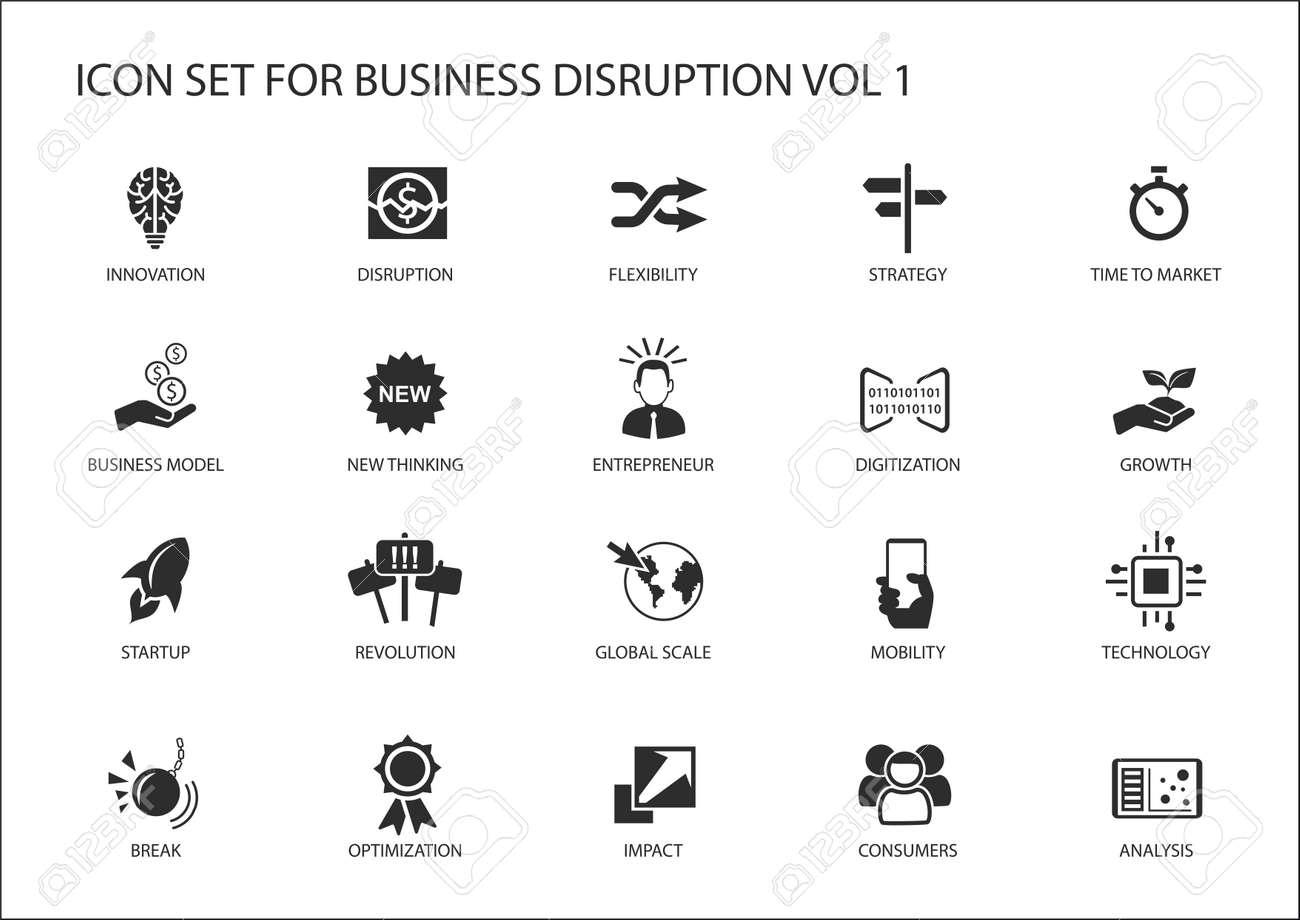 Digital business disruption icon set - 69325190