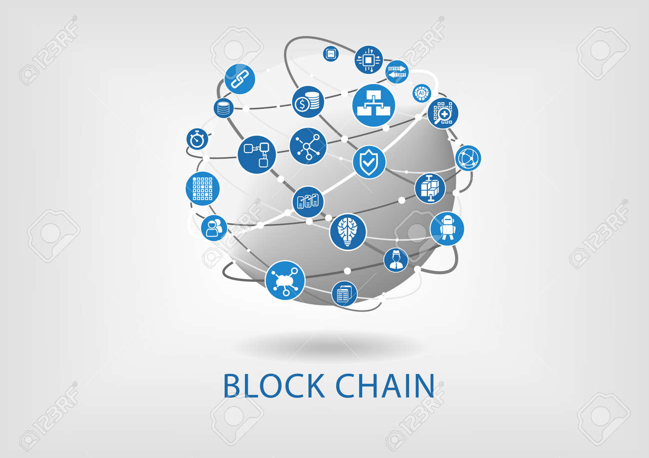 Block chain vector illustration with connected globe on light gray background - 69262286