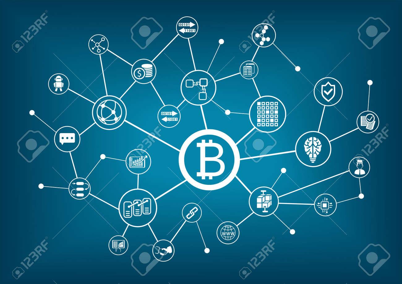 Bitcoin vector illustration with dark blue background - 69423561
