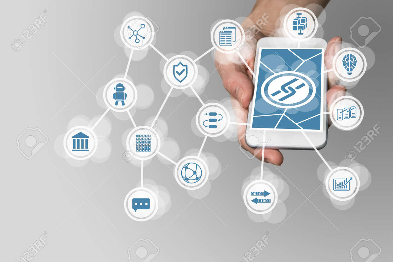 Block Chain concept with hand holding modern smart phone as example for fin-tech technology - 70297749