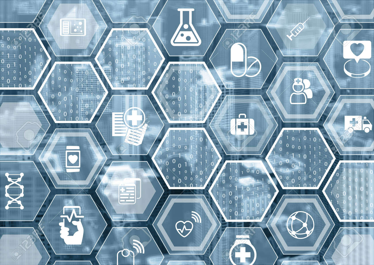 Electronic e-healthcare blue and gray background with hexagonal shapes Stock Photo - 71251560