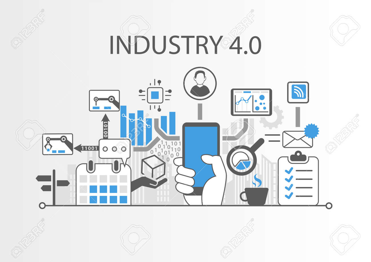 Industry 4.0 vector illustration background as Example for Internet of things technology Stock Vector - 74648952