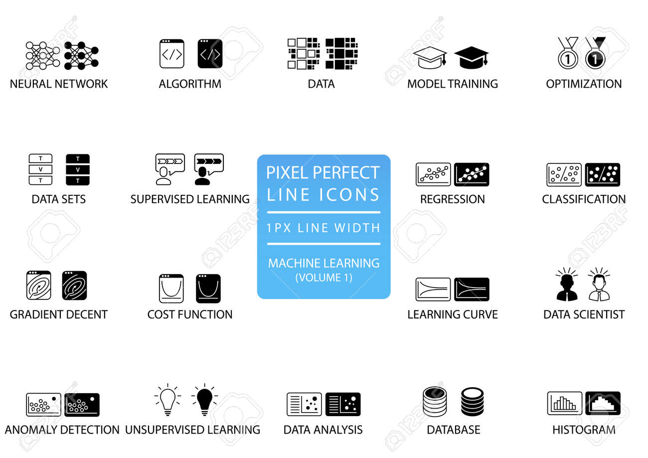 Pixel Perfect Thin Line Icons And Symbols For Machine Learning