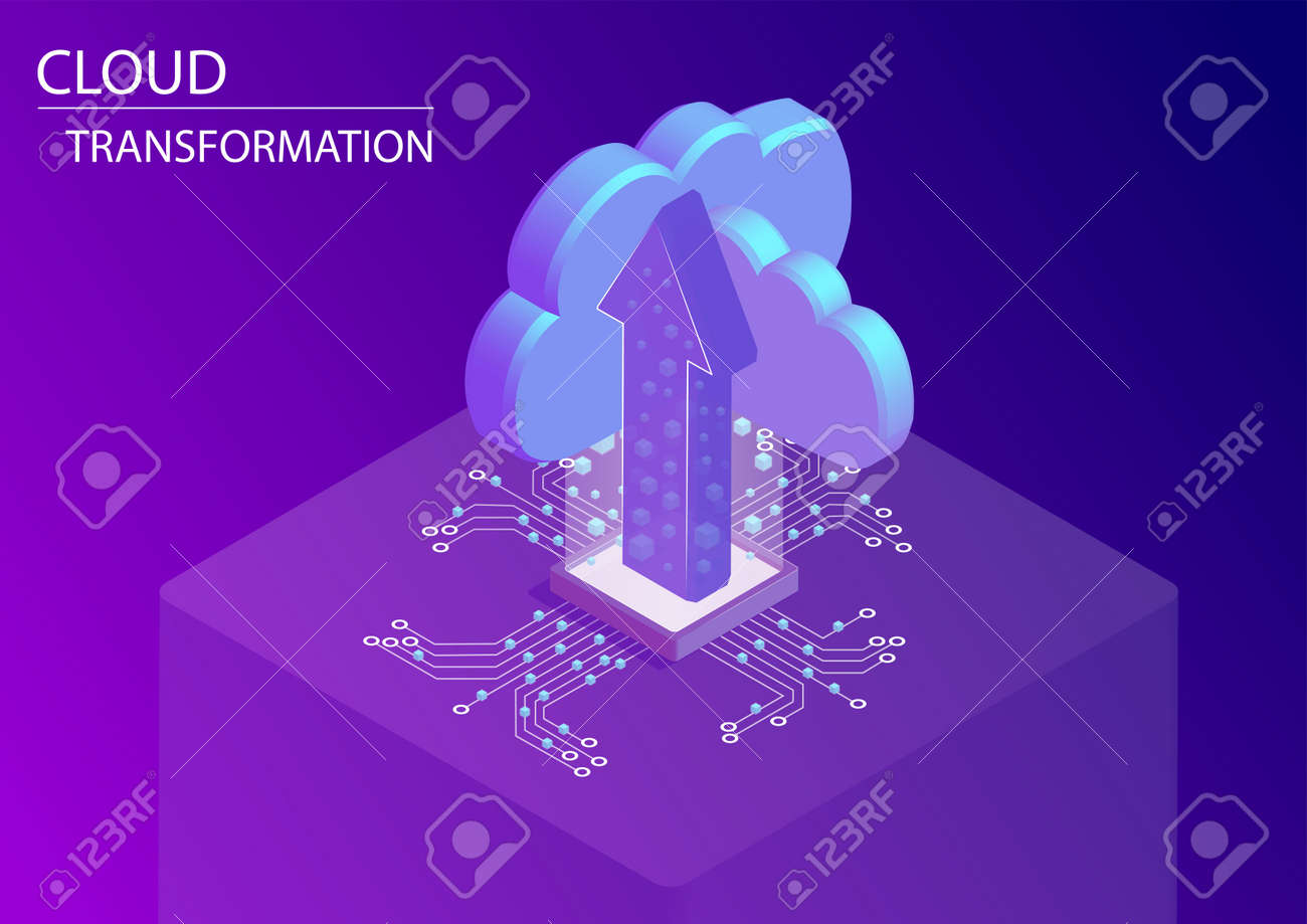 Cloud transformation and digitization concept. 3d isometric vector illustration with floating arrow and cloud symbols - 125801170