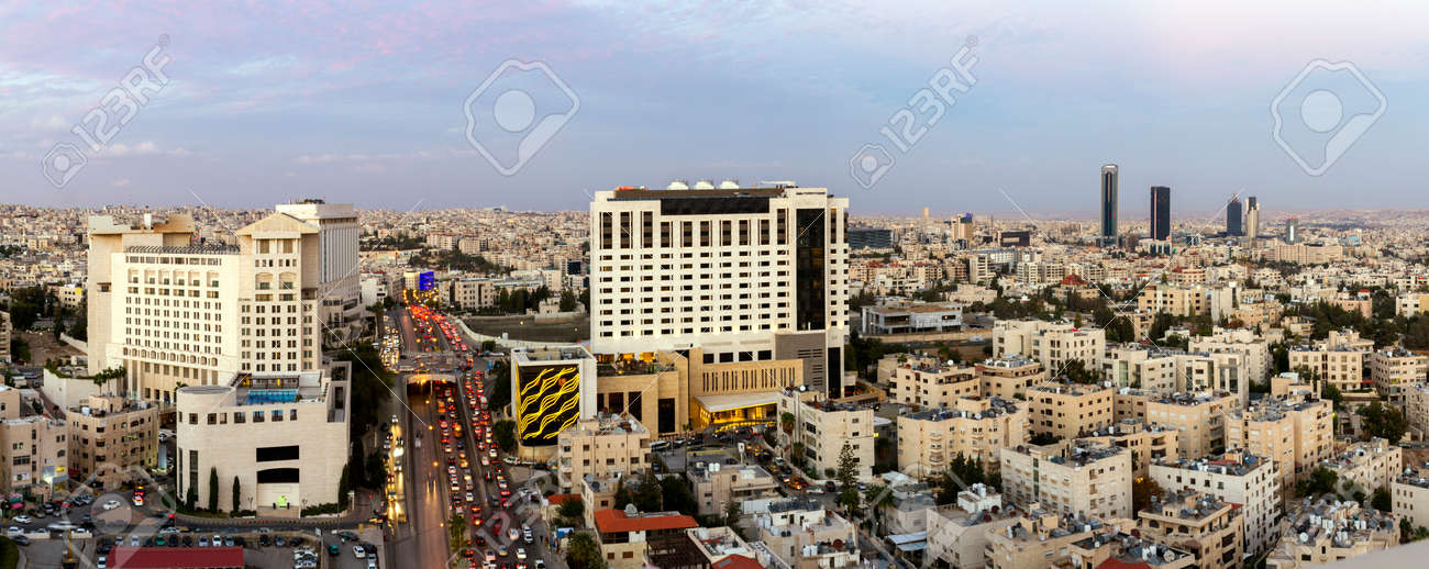 Panoramic View Of The New Downtown Amman Abdali Area And Fifth Circle Stock Photo