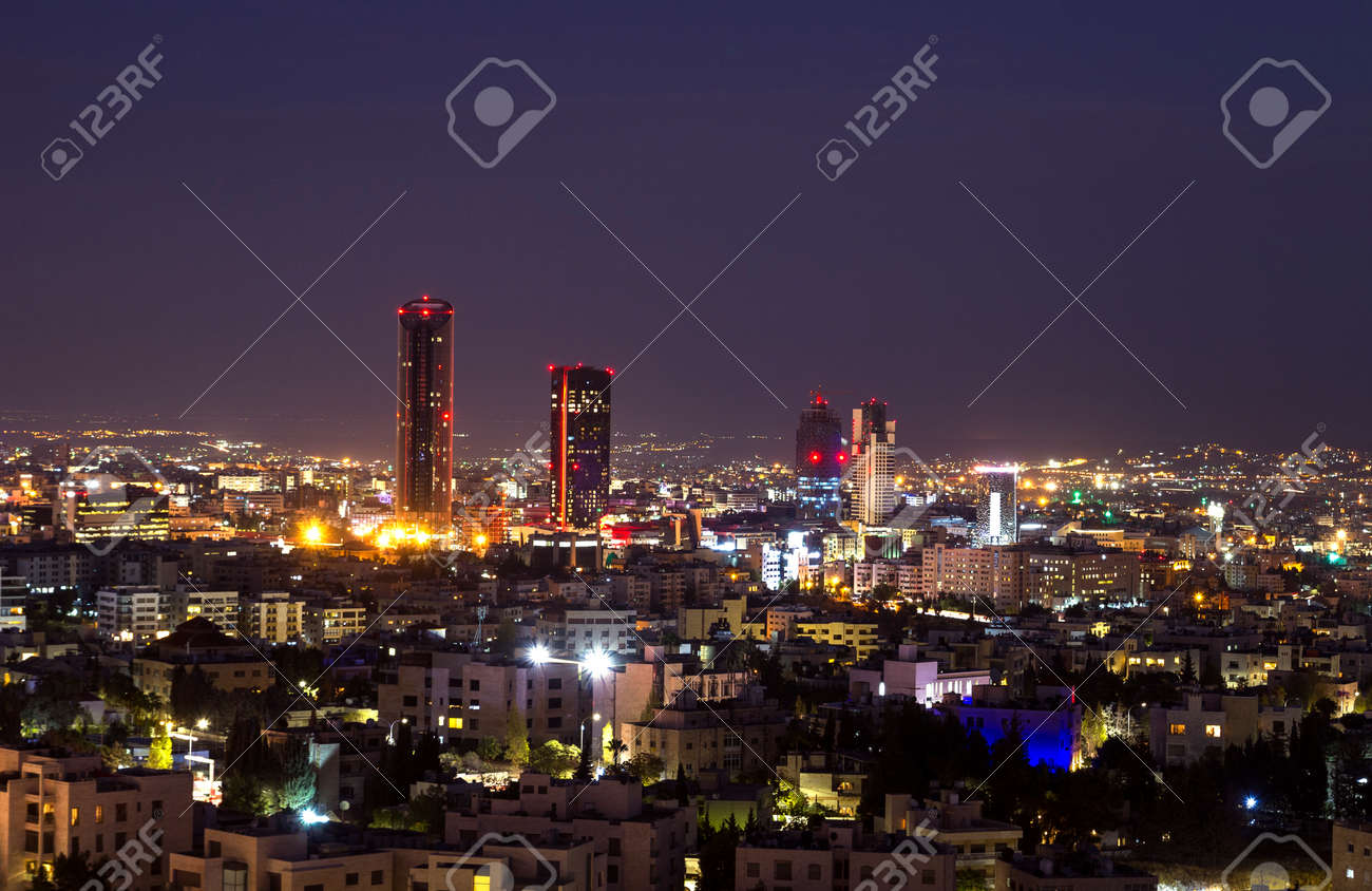Abdali Area Towers And Hotels At Night Amman City Skyline At