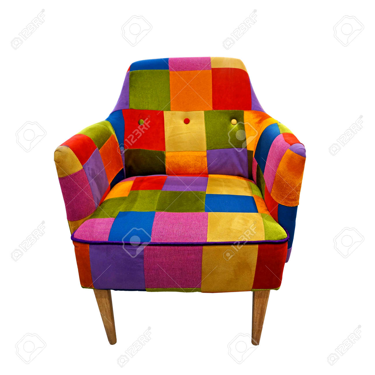 Etonnant Colorful Armchair Isolated On White Stock Photo   23729793