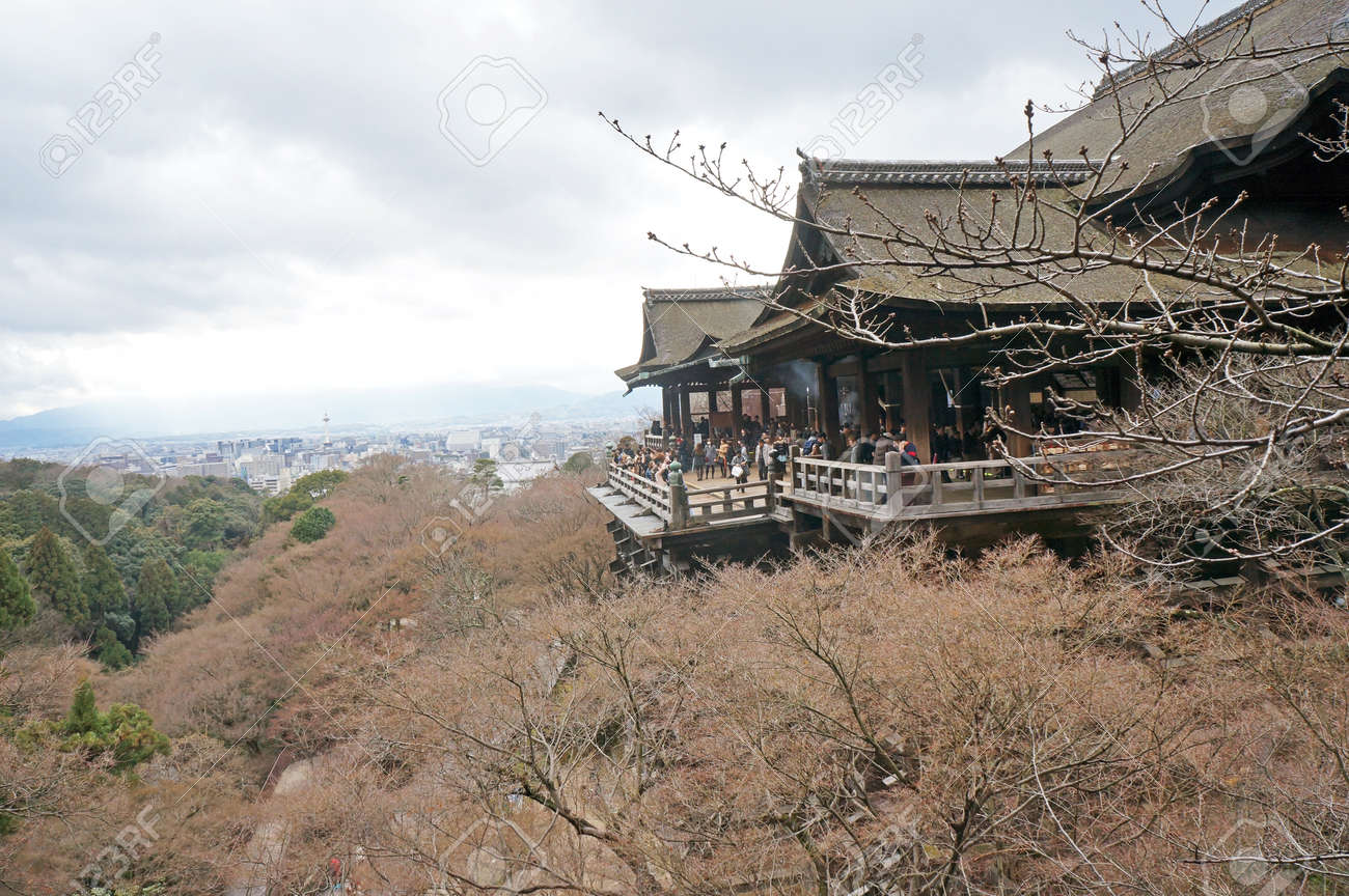KYOTO - March 6  Kiyomizu-dera stage with spring colors March 6, 2014 in Kyoto, JP  Founded in the 700 Stock Photo - 26602185