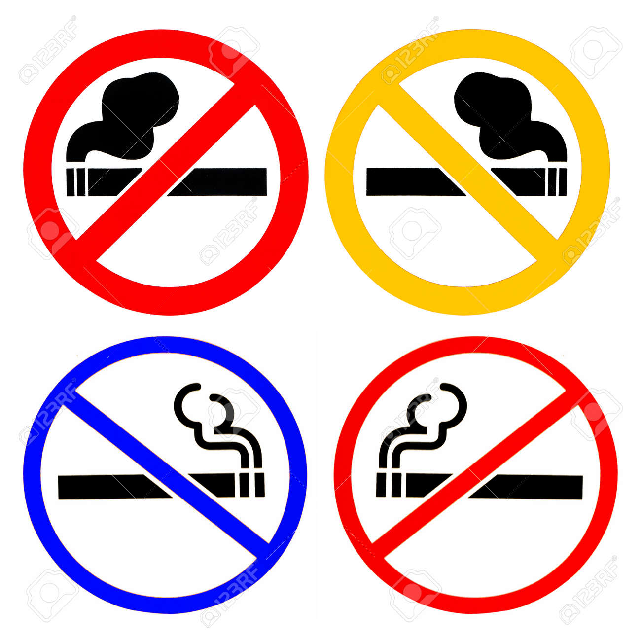 set of no smoke sign in white background stock photo picture and