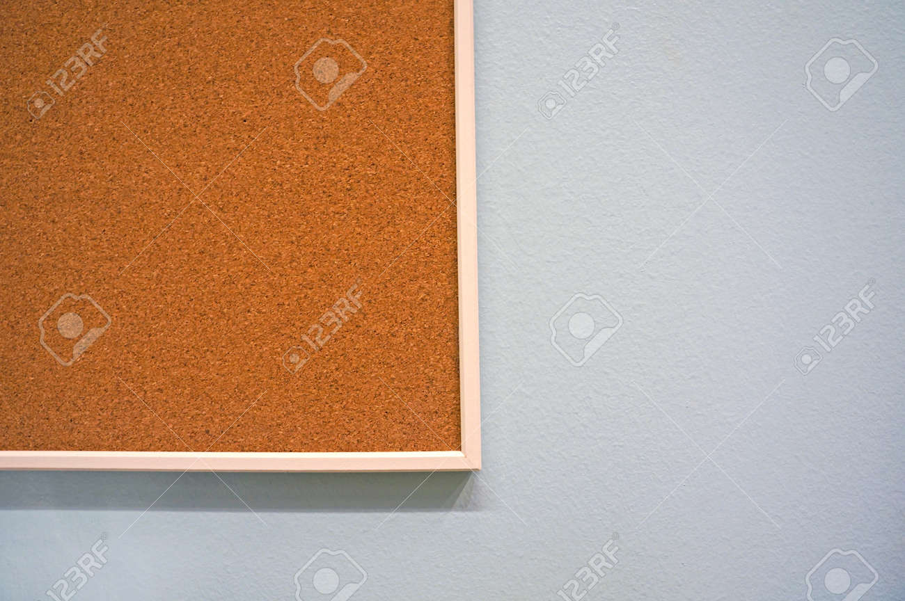 Half Of Cork Board Frame Hanging At Wall Stock Photo Picture And