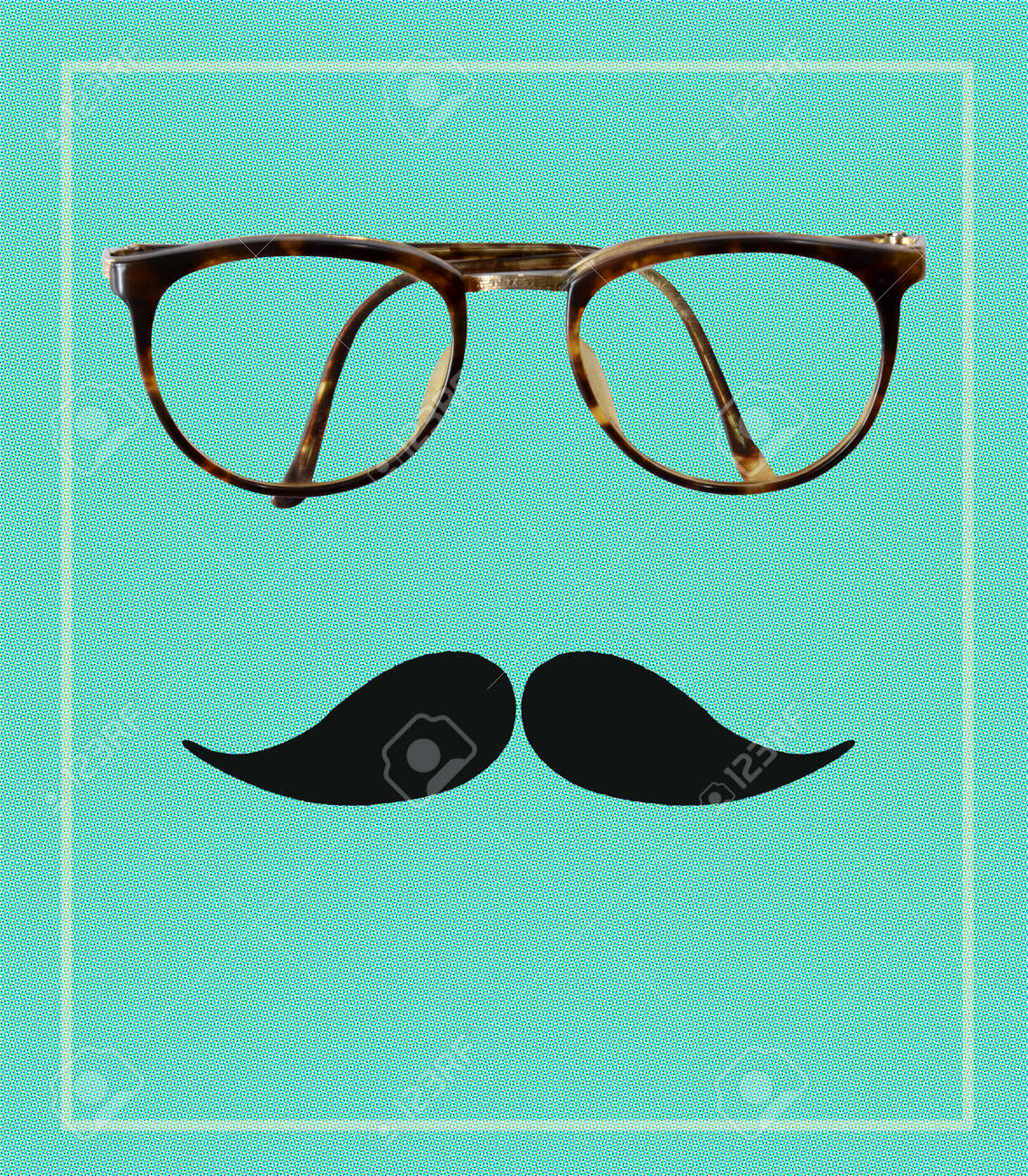 e937e56a746 Stock Photo - Vintage hipster glasses and mustache