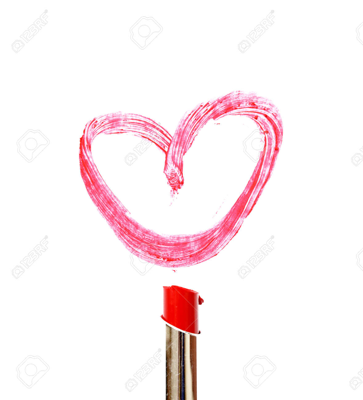 Lipstick Draw Heart Shape On White Background Stock Photo Picture