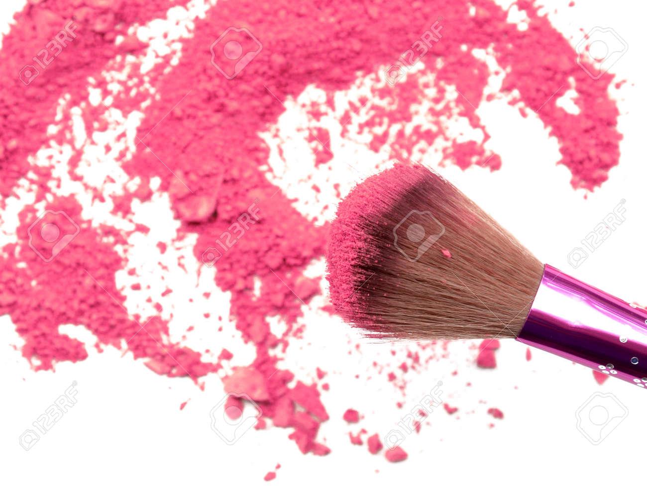 Professional make-up brush on rainbow crushed eyeshadow - 59380525