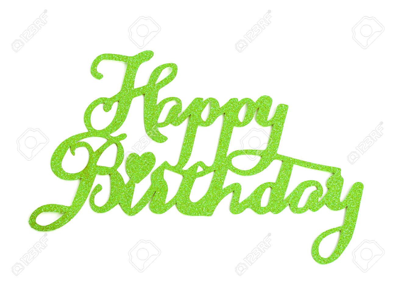 Iscrizione Della Mano Di Buon Compleanno Con Effetto Glitter Verde