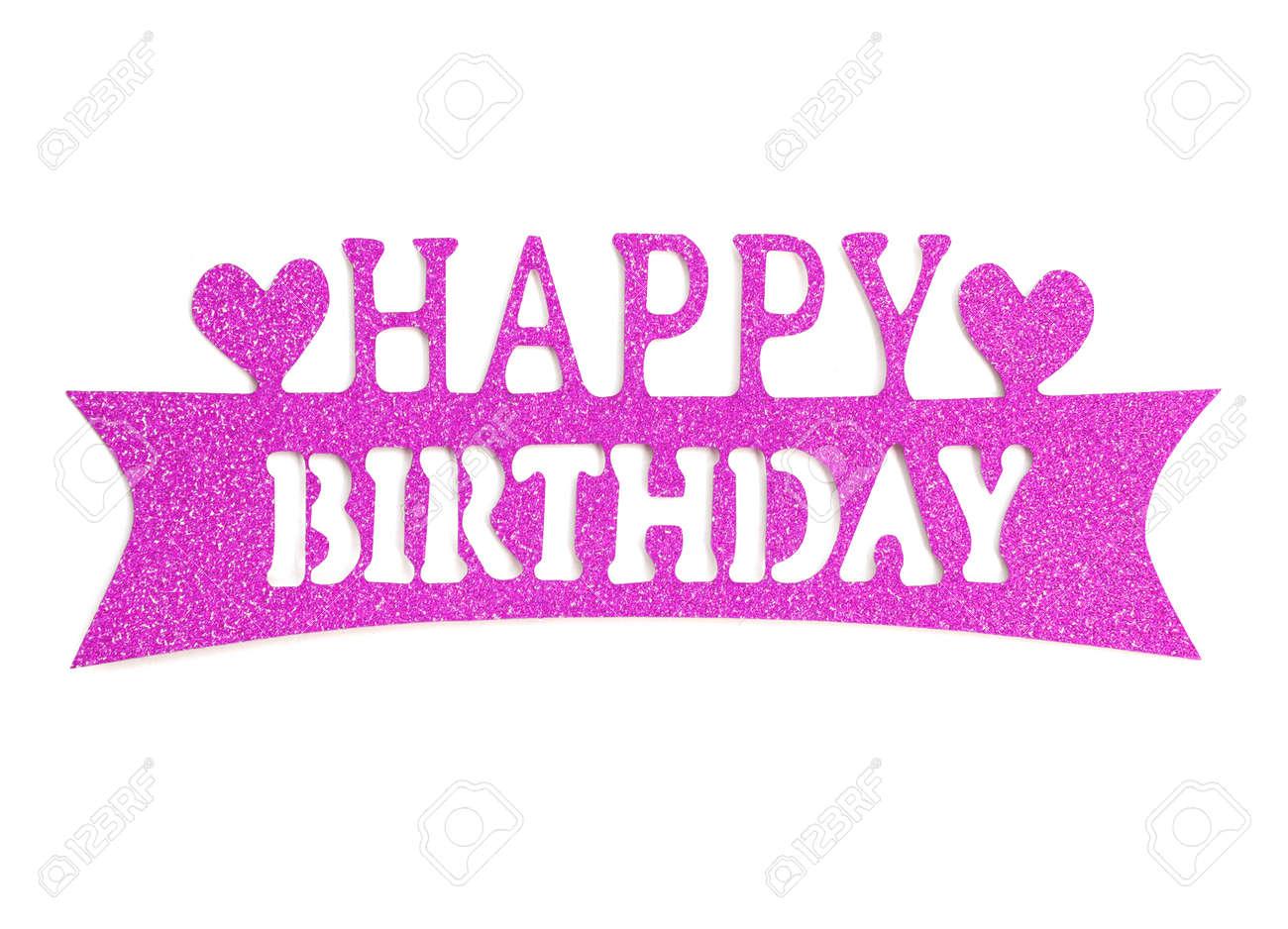 Iscrizione Della Mano Di Buon Compleanno Con Effetto Glitter Rosa