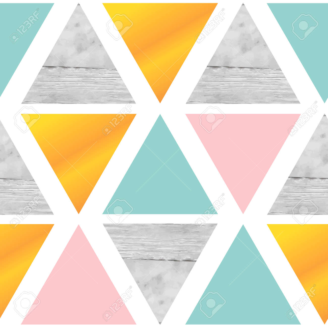 Triangular Geometrical Background With Marble Gold Pink Mint