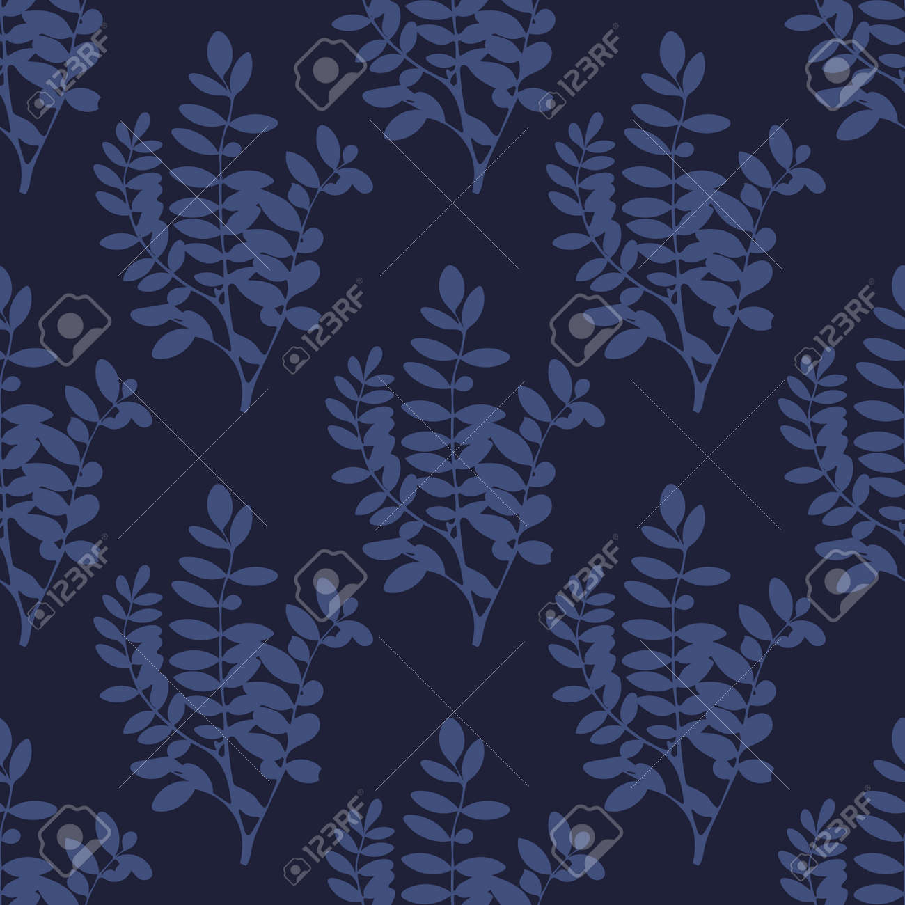 Navy Blue Tree Leaves And Branches Seamless Pattern Floral