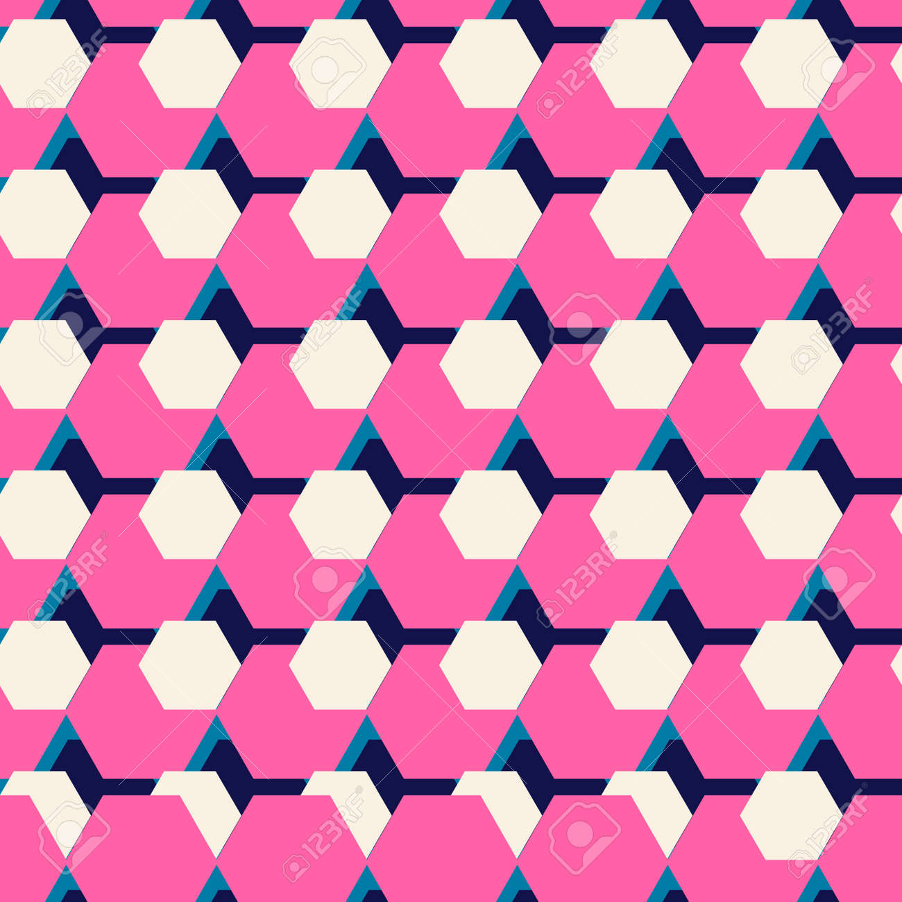 Colorful Abstract Mosaic Seamless Pattern With Hexagon Geometric