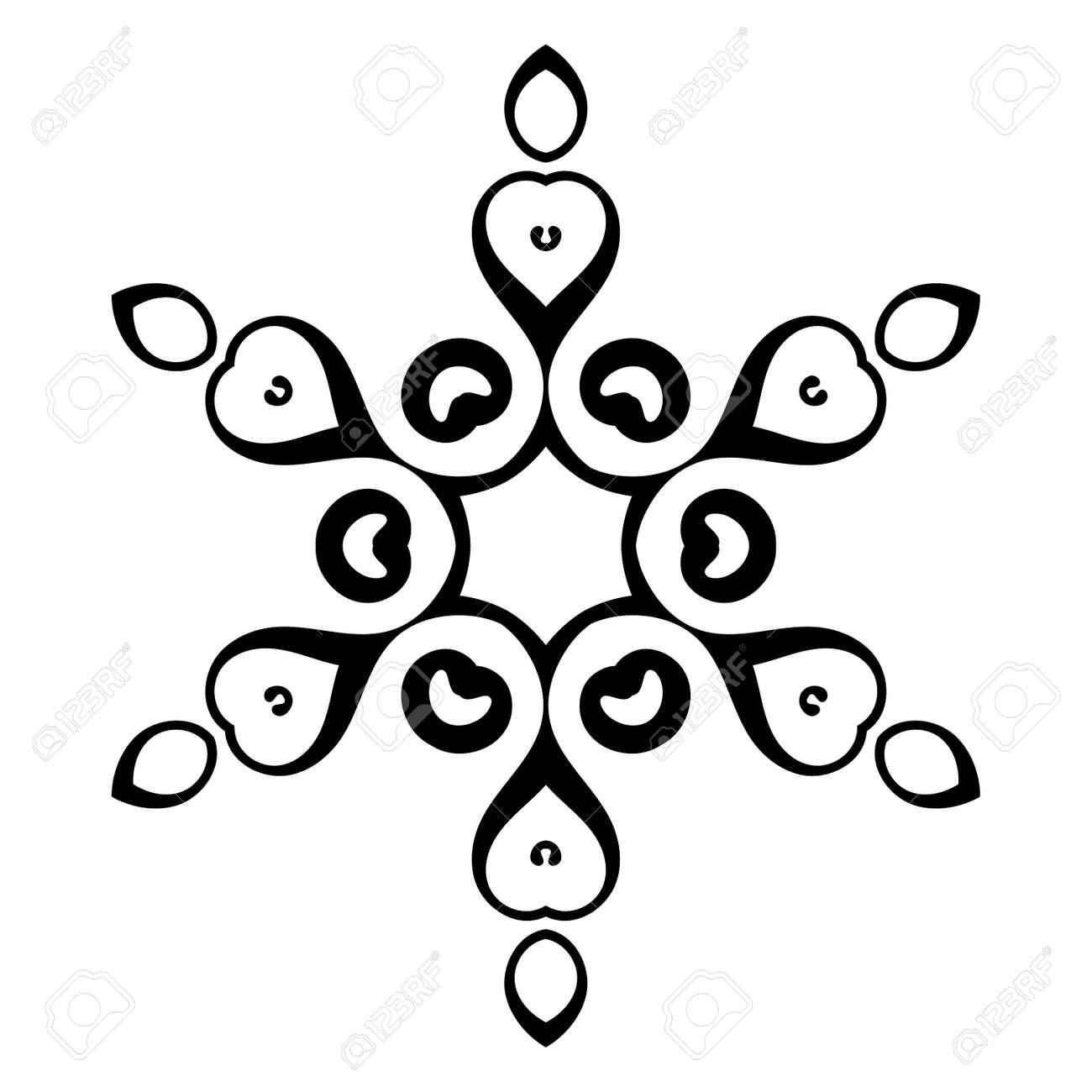 Black ornamental round doodle snowflake, flower isolated on white background. Outline mandala. Geometric circle element. Vector illustration. - 135429563