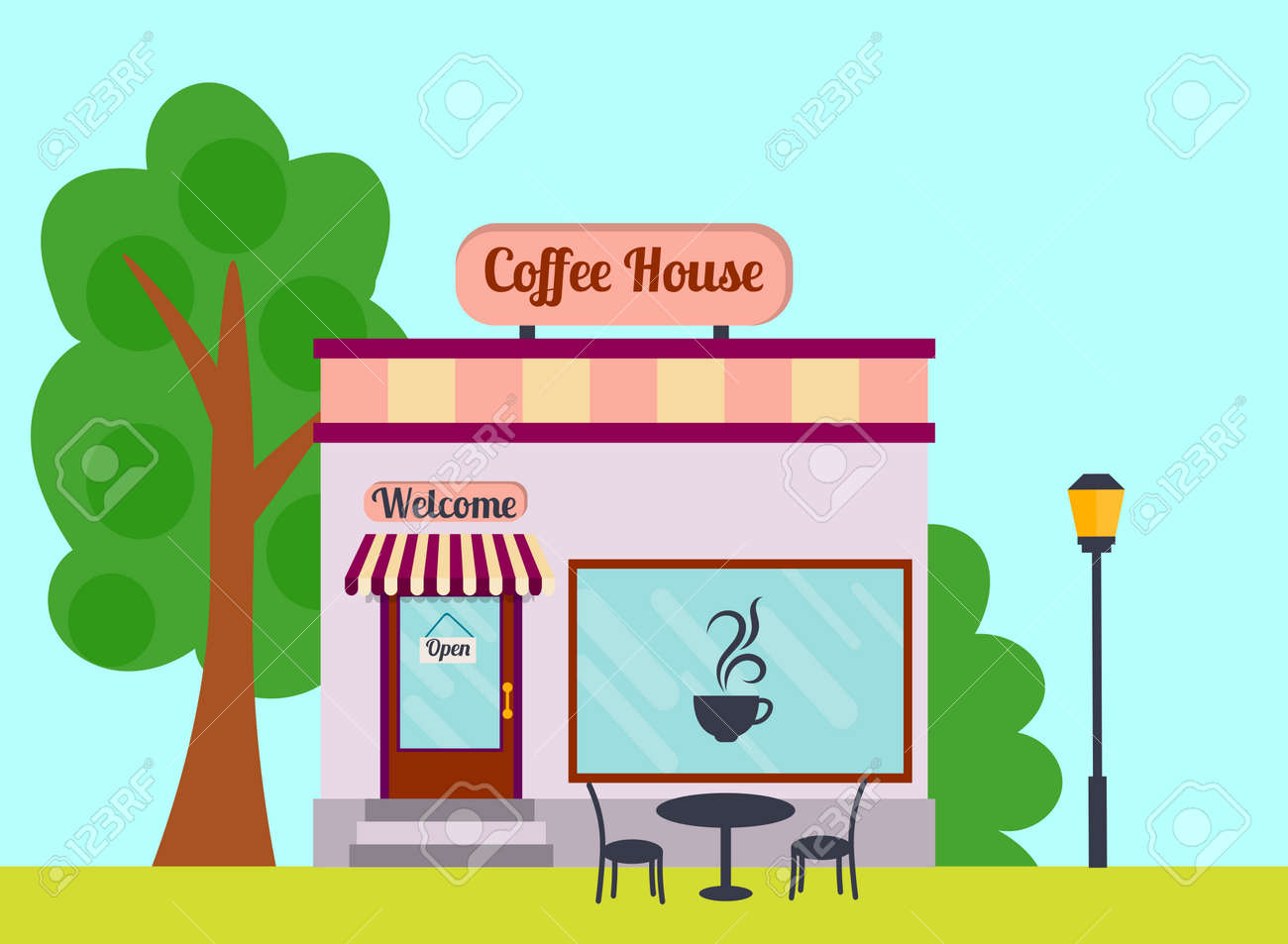 Cartoon Coffee House Facade Of The Building Street View Of Cafe Royalty Free Cliparts Vectors And Stock Illustration Image 142646343