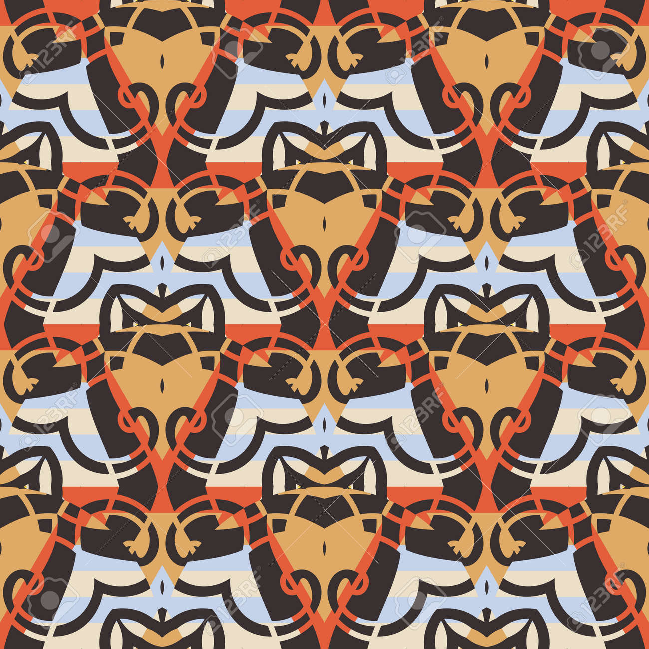 Abstract geo fish scale seamless pattern. Ornamental tile, mosaic background. Patchwork infinity card. Modern geometric motifs. - 167068573