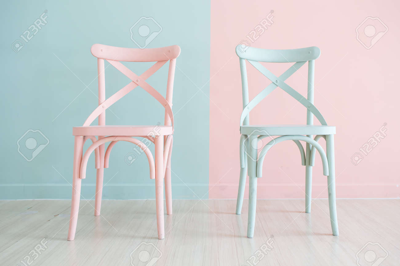 Vintage Wooden Chairs >> Vintage Wooden Chair Painted Two Tone On Two Tone Background