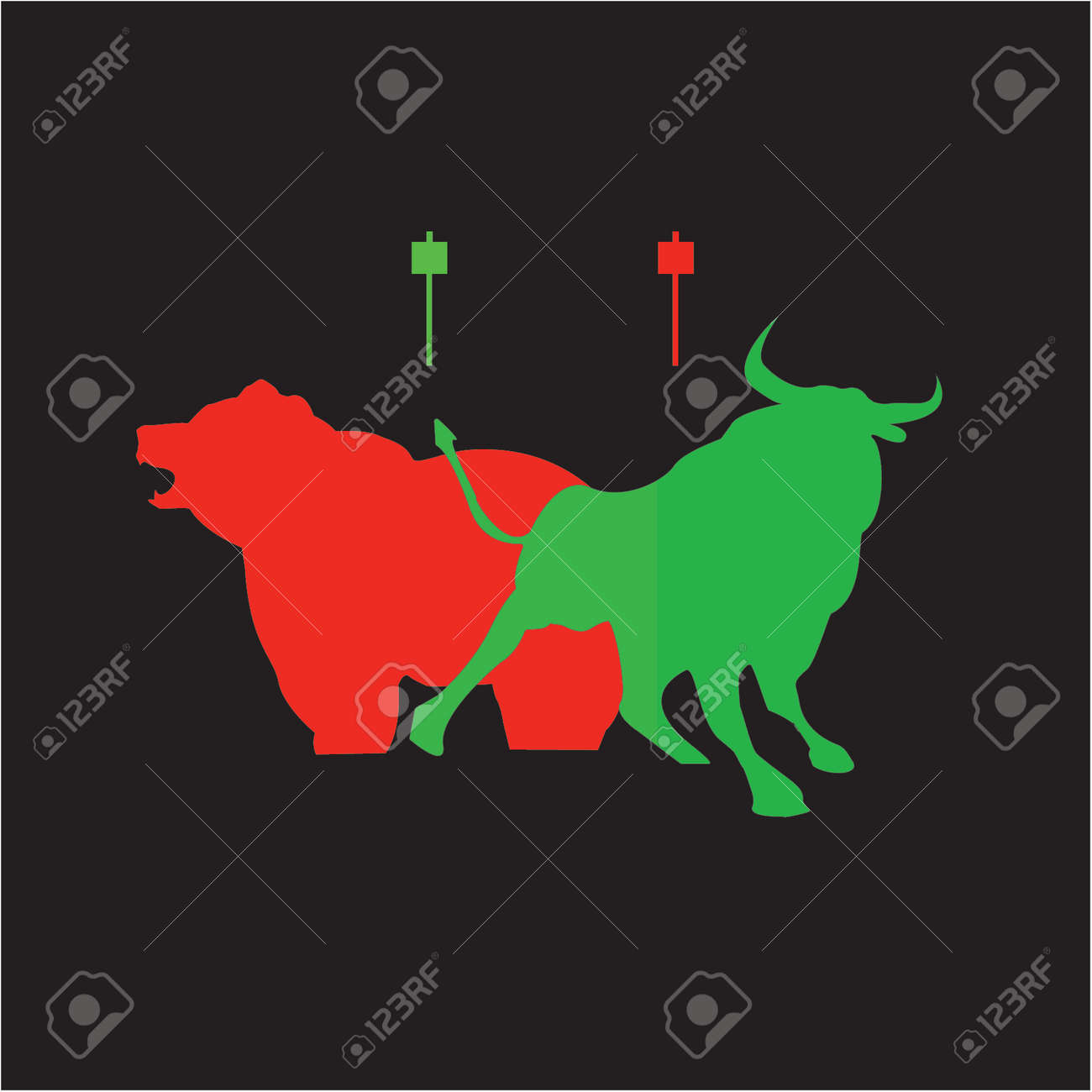 Bear and Bull candlestick take profit buy and sell trader