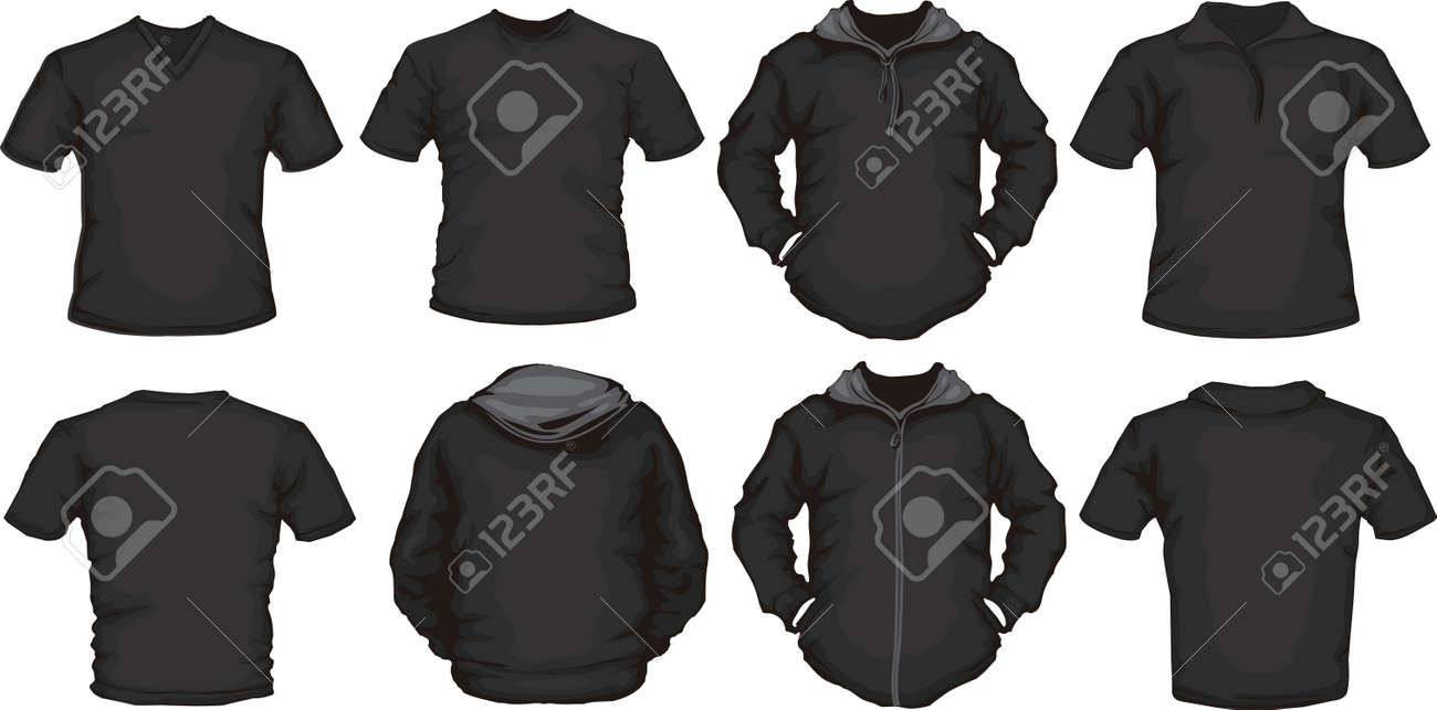 vector set of black male shirts template back and front design - 19931722