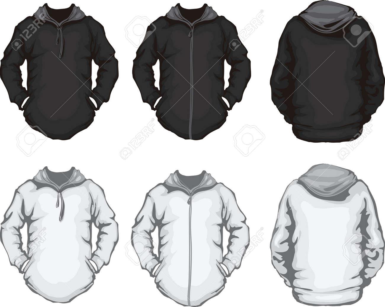 Vektor Illustration Der Schwarzen Und Weißen Hoodie